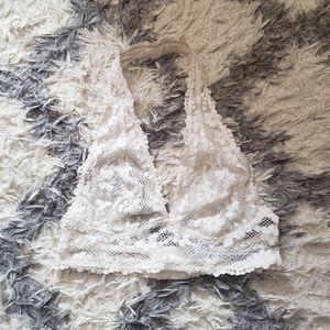 Forever 21 white floral lace halter bralette S